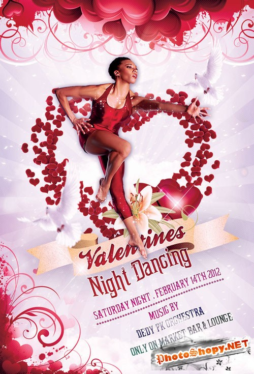 Valentines Party Flyer and Poster - PSD Template