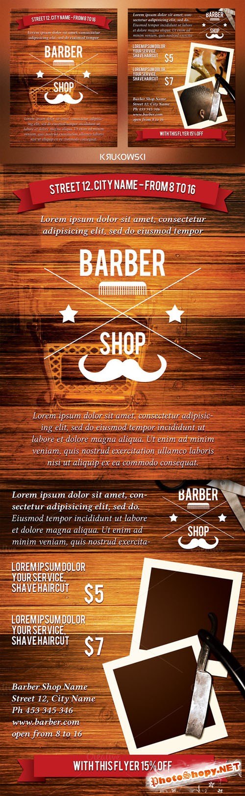 CreativeMarket - Barber Shop 2 Sided Flyer