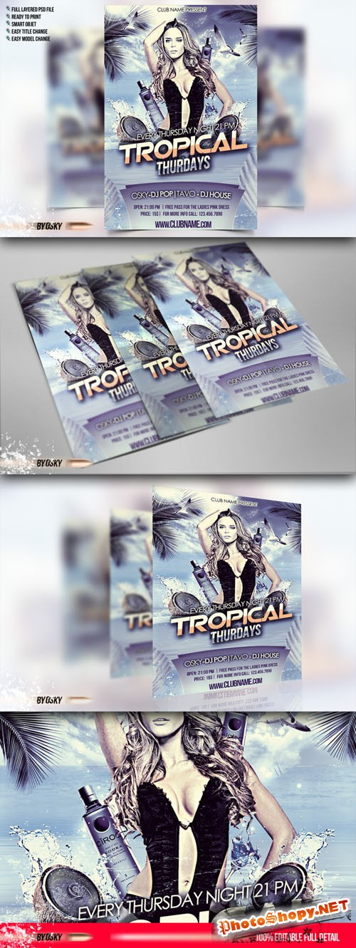 CreativeMarket - Tropical Thurdays 44818 - Party Flyer and Poster Template