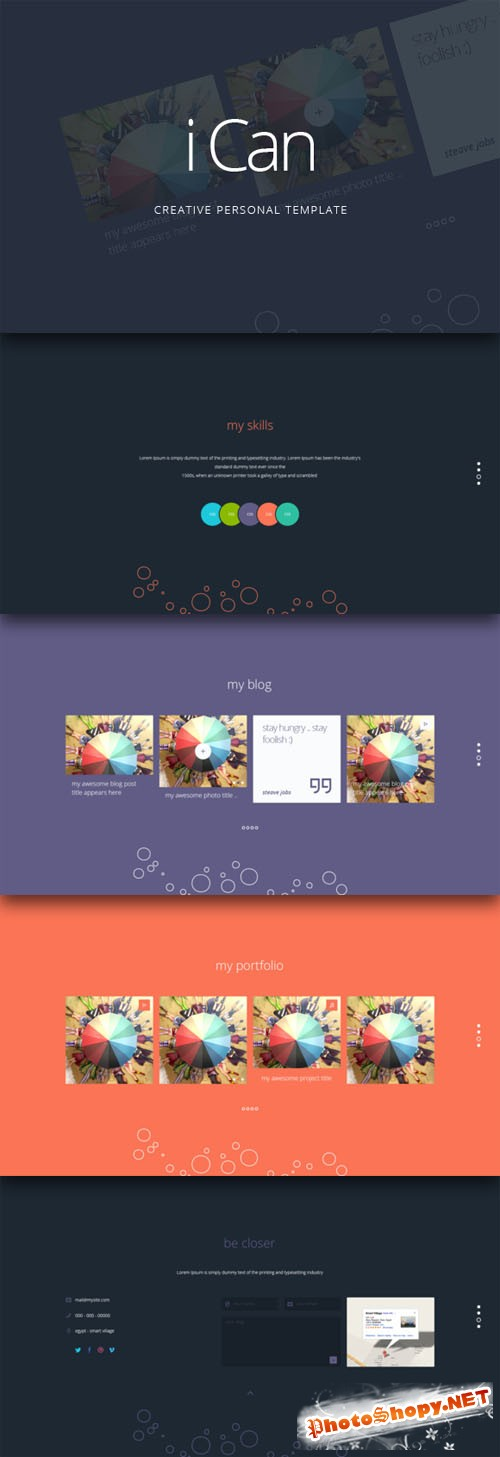 CreativeMarket - iCan - Personal Website PSD Template