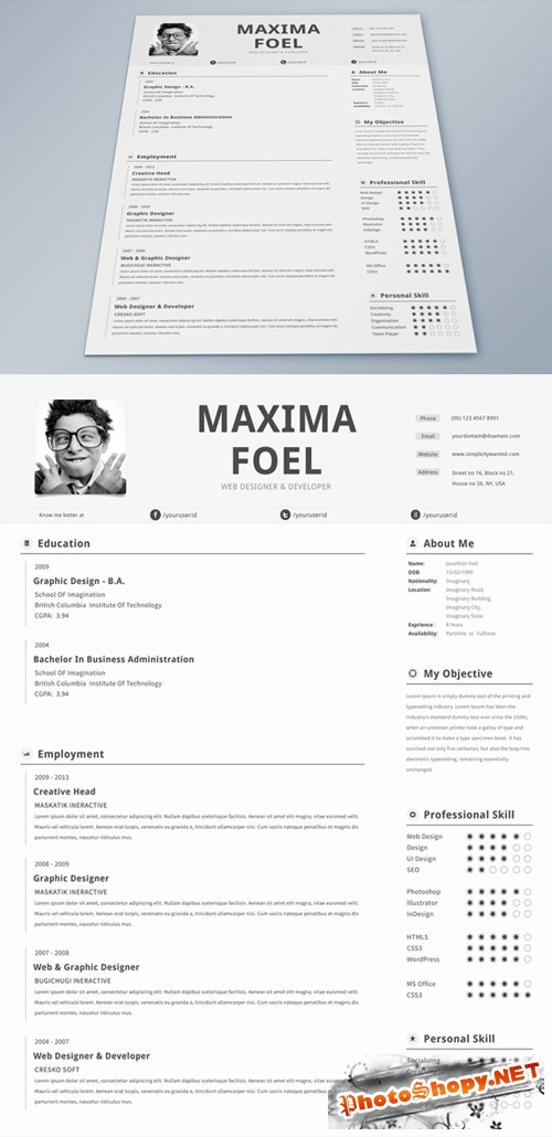 Single Page Resume Template PSD