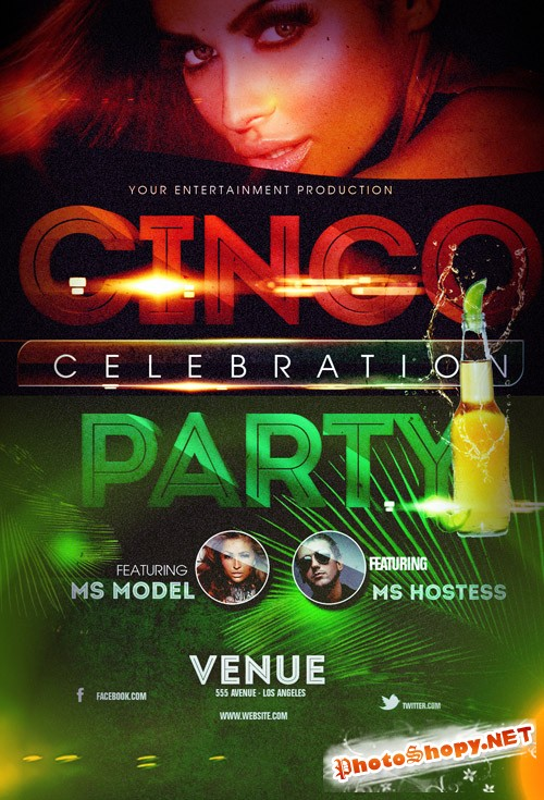 Cinco Party Flyer Template PSD