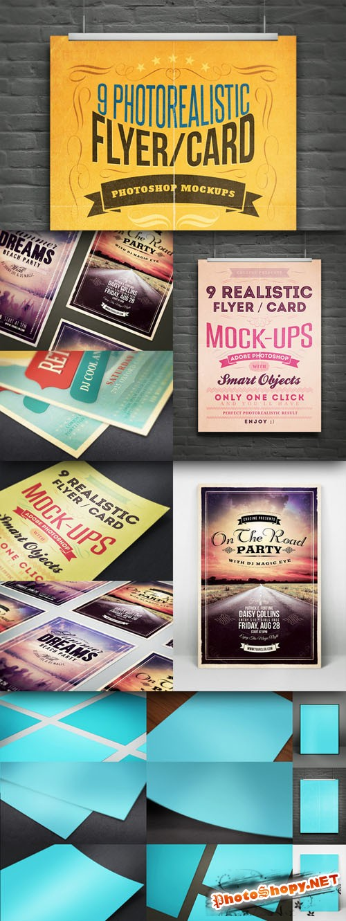 Realistic Flyer/Card Mock-Ups Vol.1 - CreativeMarket
