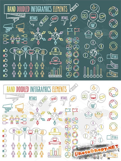 CreativeMarket - Hand Doodled Infographics Elements