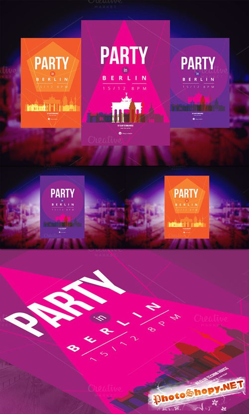 CreativeMarket - 3 Posters - Party in Berlin