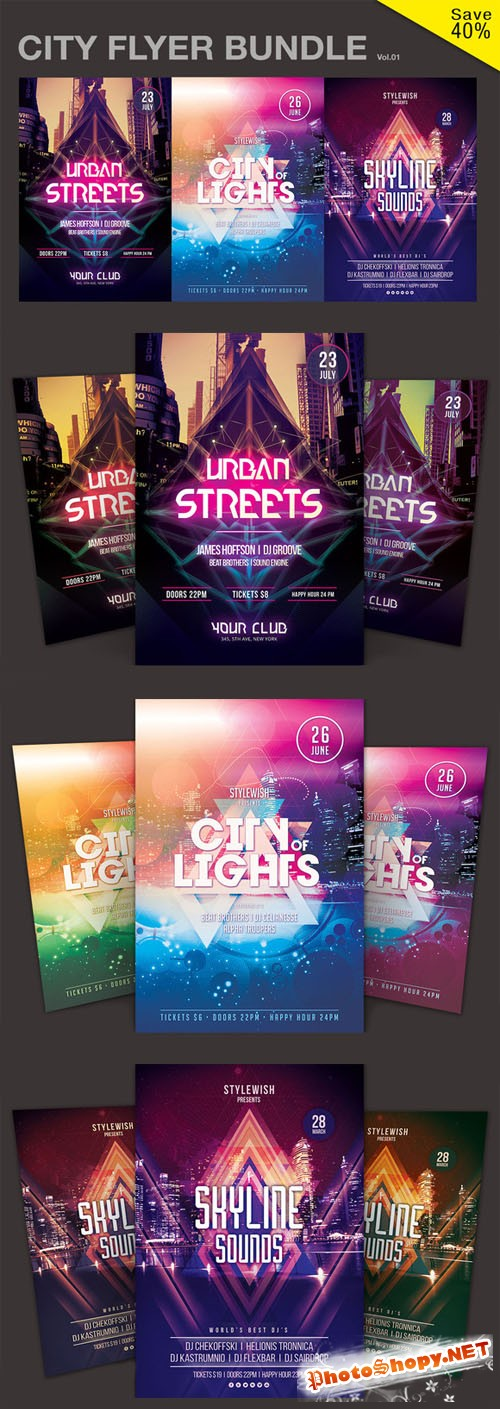 CreativeMarket - City Flyer Bundle Vol.01