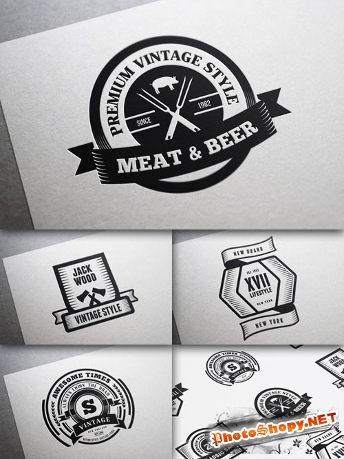 CreativeMarket - 22 Vintage Templates, Badges, Logos