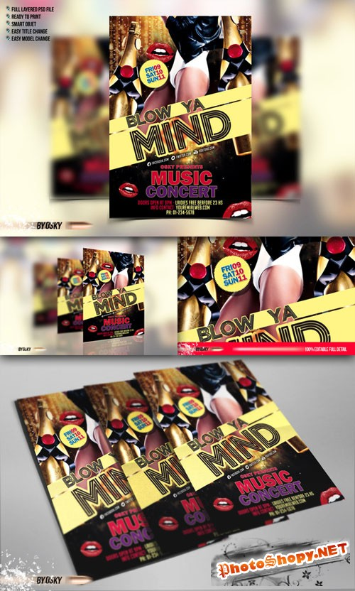 CreativeMarket - Blow Ya Mind - Flyer and Poster PSD Template