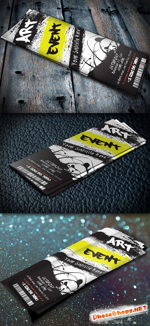 CreativeMarket - Art Event Ticket - PSD Invitation Template