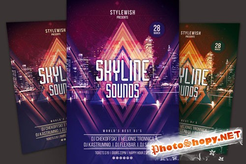 CreativeMarket - Skyline Sounds Flyer 23074