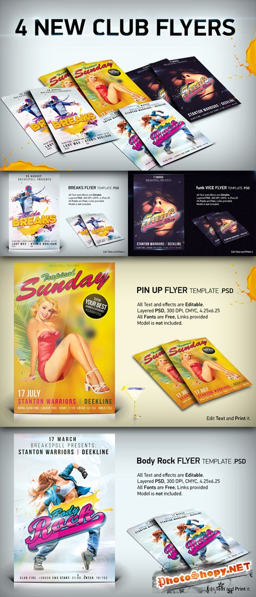 CreativeMarket - 4 Funky Flyer Templates Bundle PSD