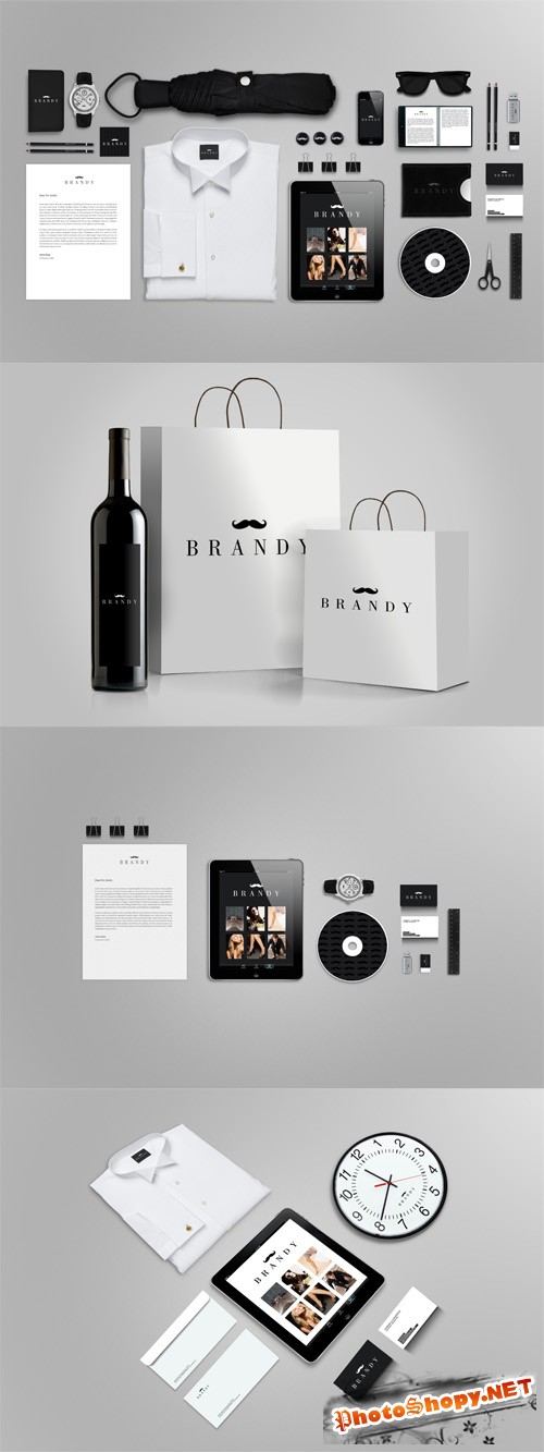 Stylish Black Stationery Branding Mock up