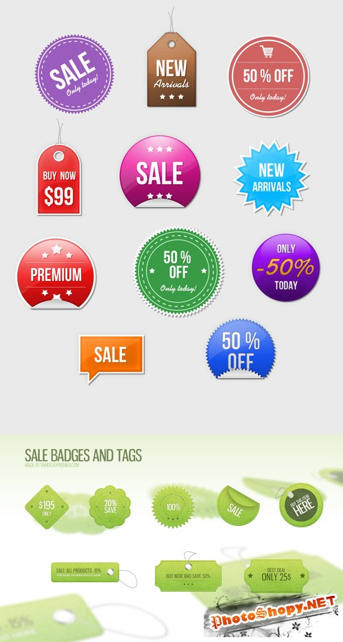 Sale Badges Tags and Stickers PSD