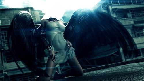 Шаблон для девушек - С большими черными крыльями