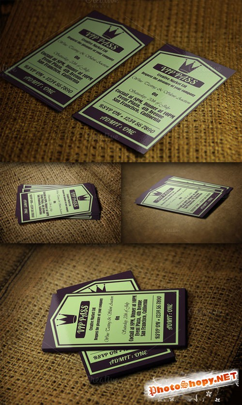 CreativeMarket - Retro VIP Pass Card Template 52012