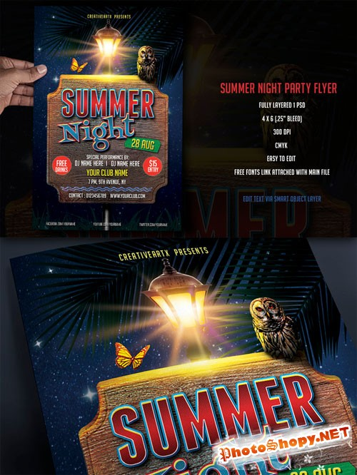 Creativemarket - Summer Night Party Flyer 52215