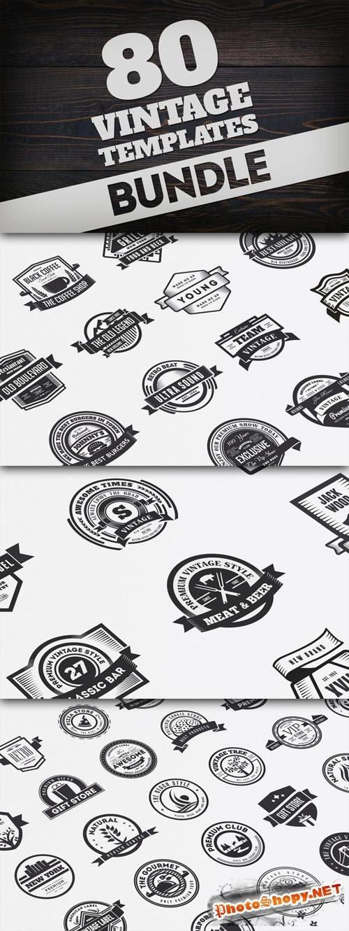 Creativemarket - Bundle 80 Vintage Logos & Badges