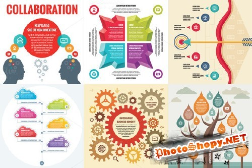 CreativeMarket - 6 Infographic Business Concept 33950