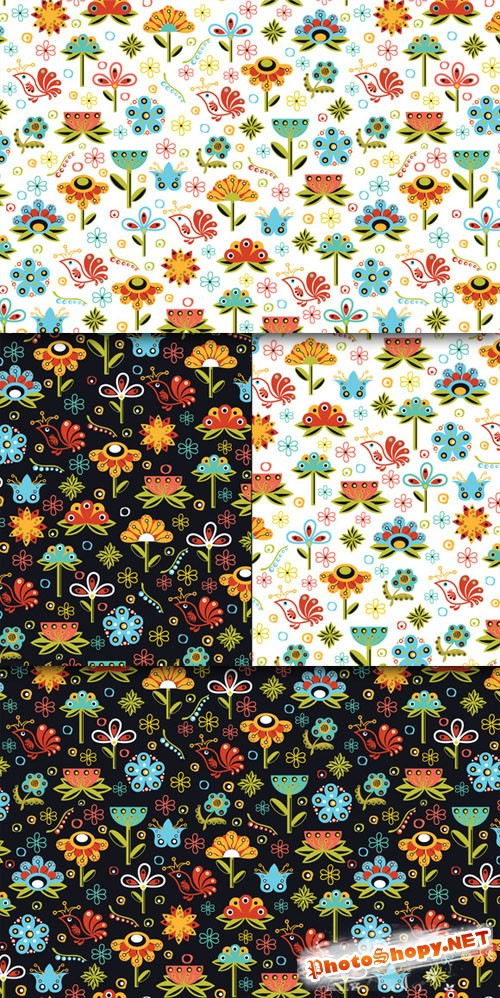 CreativeMarket - Vector Flowers Seamless Pattern 22544
