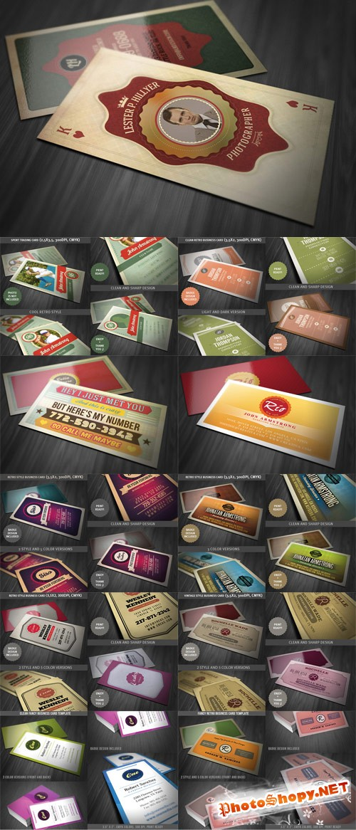 10 Retro Business Card Templates PSD