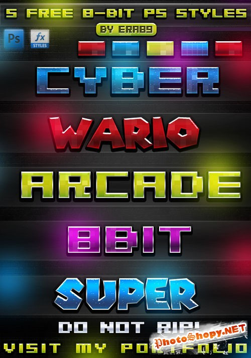 8-Bit Text Effect Photoshop Styles