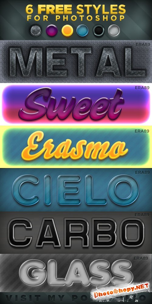 Colored Text Effects Photoshop Layer Styles #2