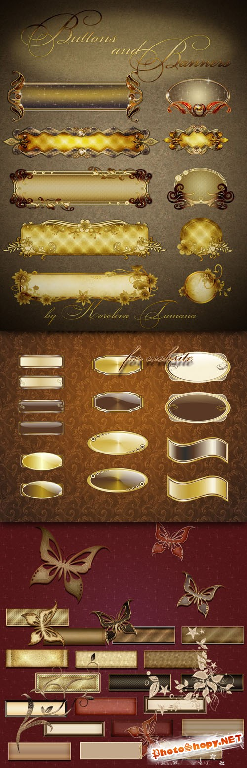 Golden Buttons and Banners for Website Design PNG Clipart