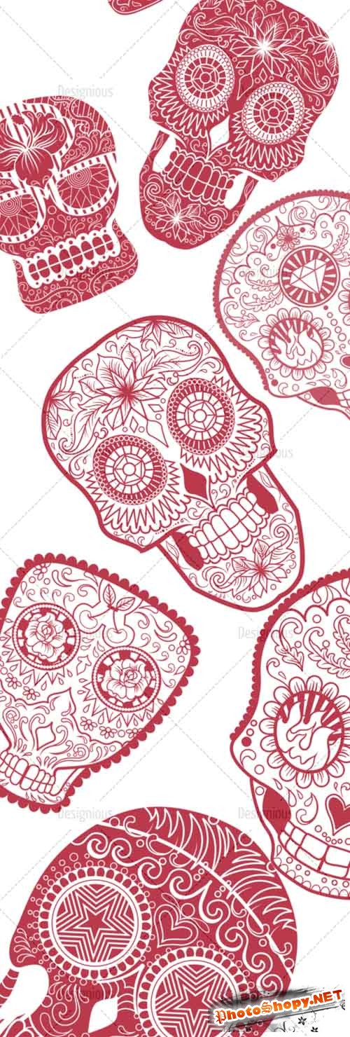 Photoshop Brushes Sugar Skulls Set 12