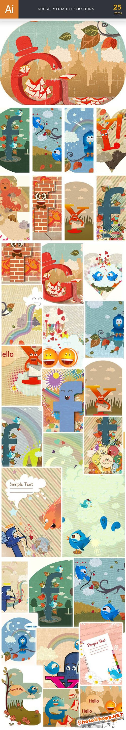 Social Media Vector Illustrations Collection