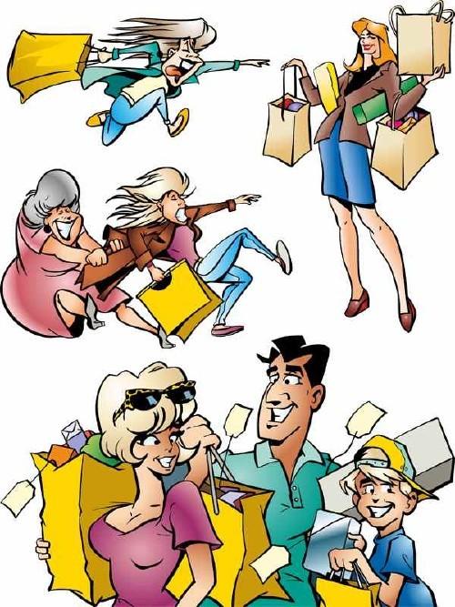 Люди и покупки (шопинг) - векторные отрисовки