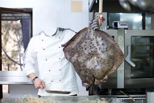 Шаблон для фотомонтажа - Повар готовит рыбу