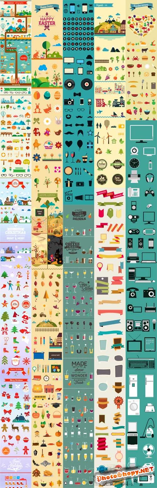 Flat Vector Elements Collection for Graphic Designers