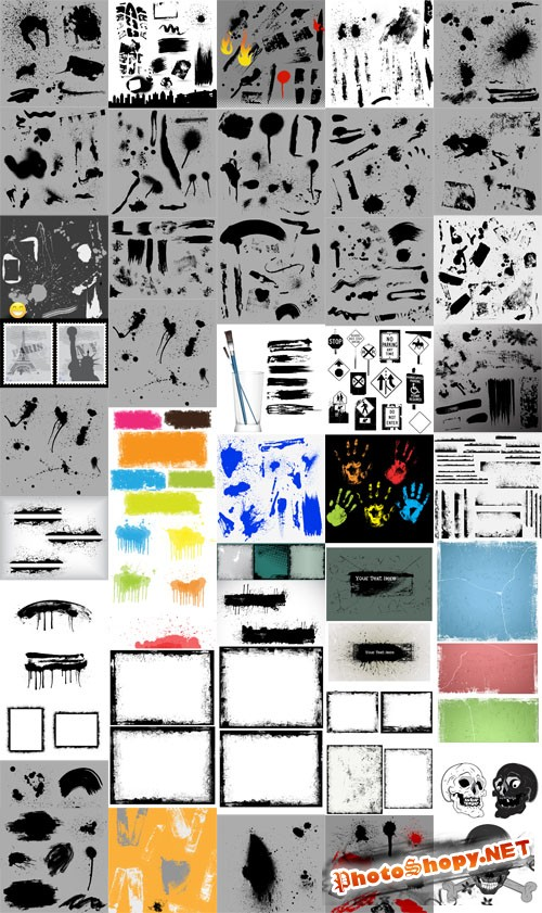 Grunge Vector Elements Collection for Graphic Designers
