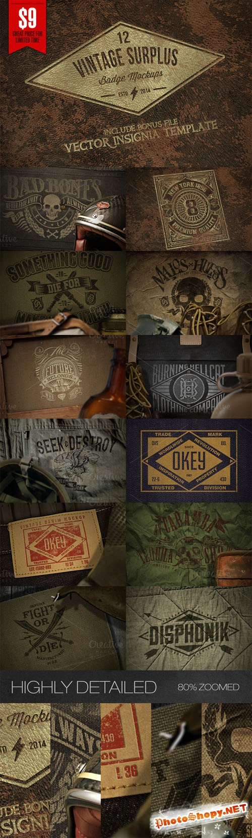 CreativeMarket - Vintage Surplus Badge Mockups