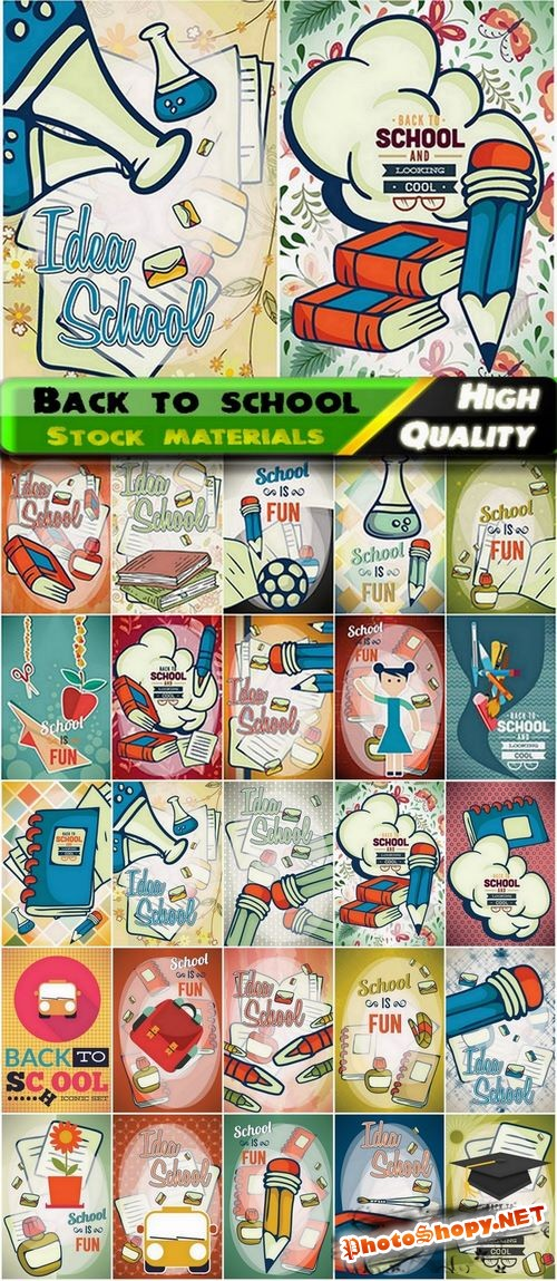 Back to school design elements in vector from stock - 25 Eps