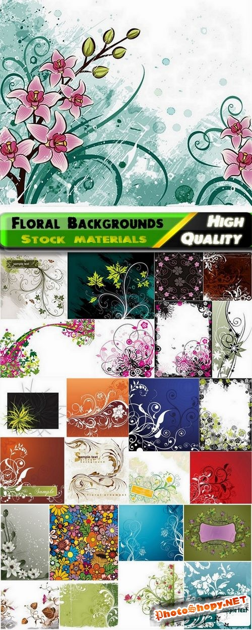 Abstract backgrounds with flowers and leaves elements #8 - 25 Eps