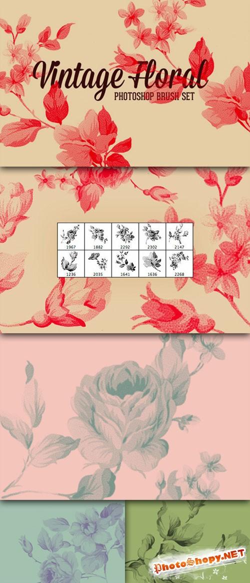 CreativeMarket - Vintage Floral Photoshop Brush Set 31844