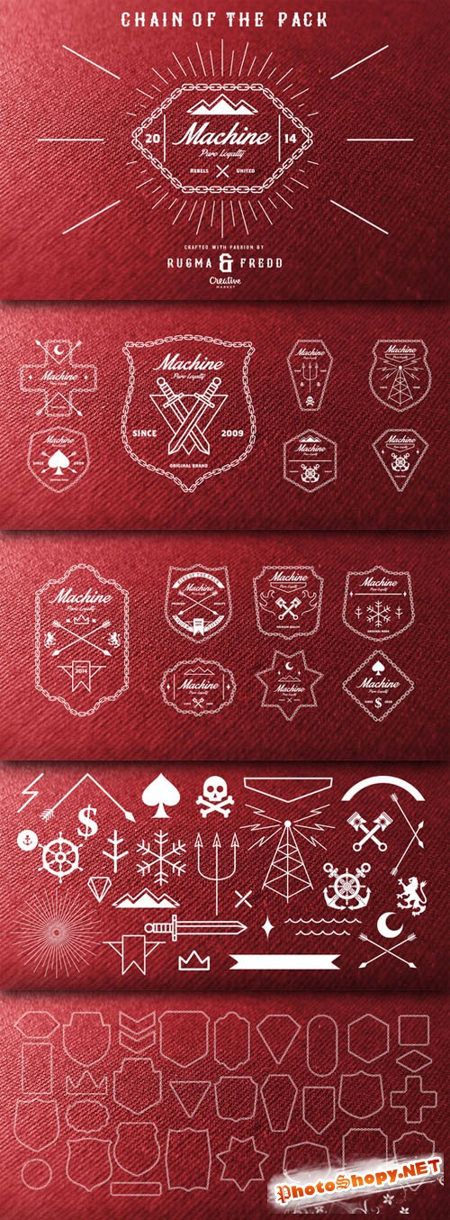 CreativeMarket - Chain Shield & Badges 27655