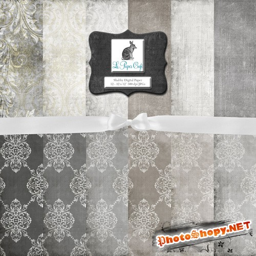 12 Neutral Damask and Solids Background