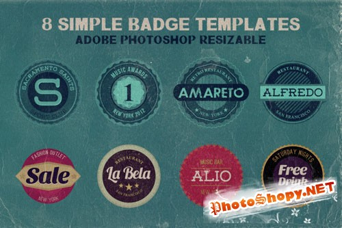 8 Retro/Vintage Style and Simple Badge Templates