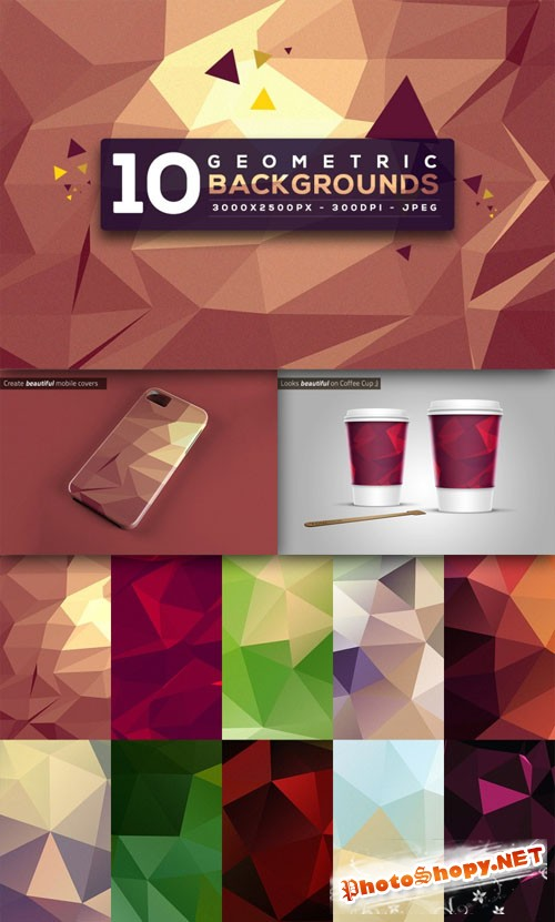 10 Colored Polygon Geometric Backgrounds