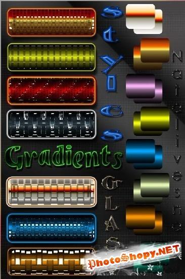 Стеклянные стили и яркие цветные градиенты для фотошопа