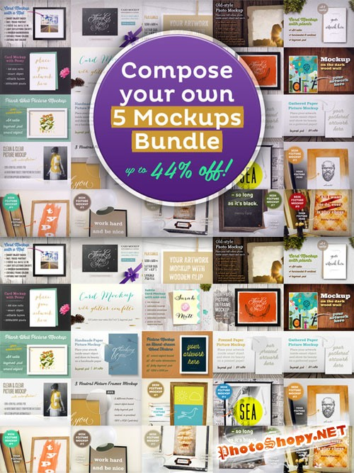 CreativeMarket - Compose your 5 Mockups Bundle 21762
