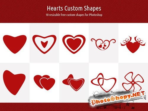 Hearts Custom Photoshop Shapes