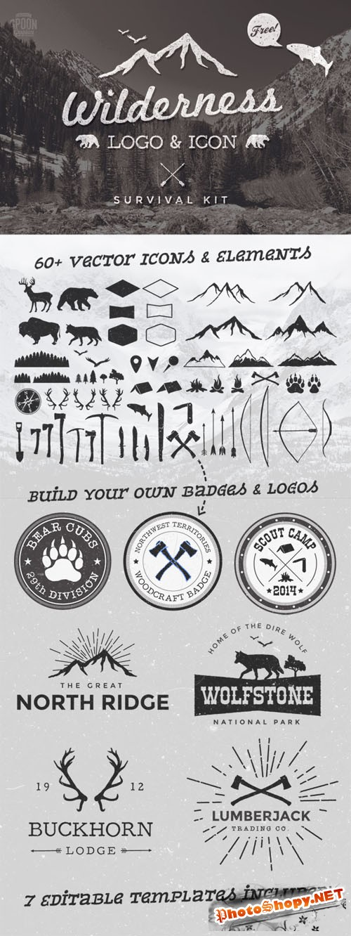Wilderness Vector Graphics & Logo Template Kit