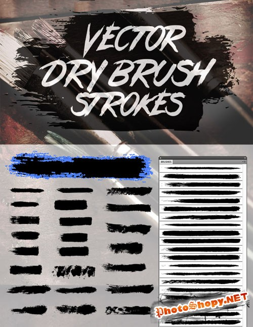 24 Vector Dry Brush Stroke Illustrator Brushes