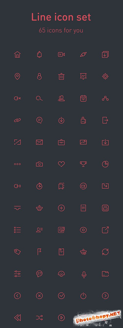 65 Fresh Line PSD, AI and EPS Icons