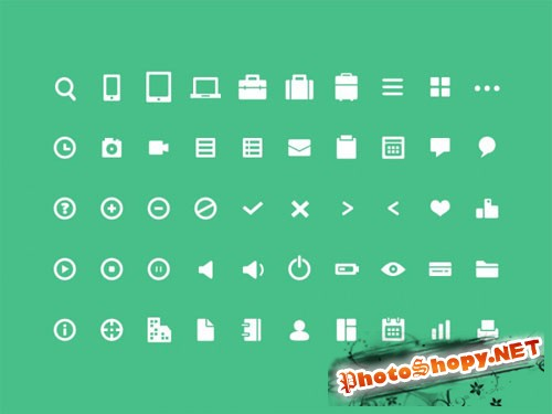 50 Pixel Mini Icons - PSD Template