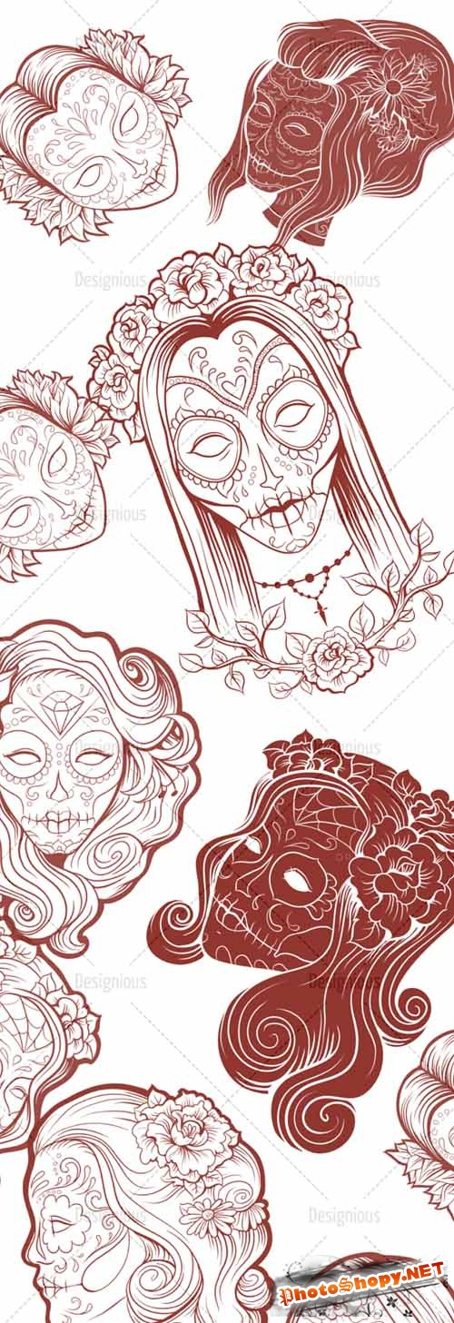 Photoshop Brushes Sugar Skulls 14