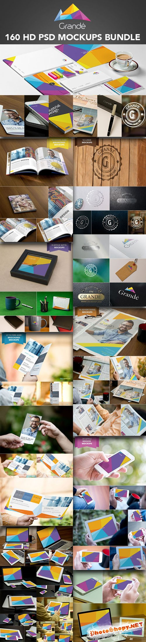 160 High Quality Professional PSD Mockups Bundle from ZippyPixels